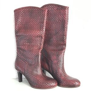 Corso Como Leather Woven Burgundy Boots 6.5 NWOT